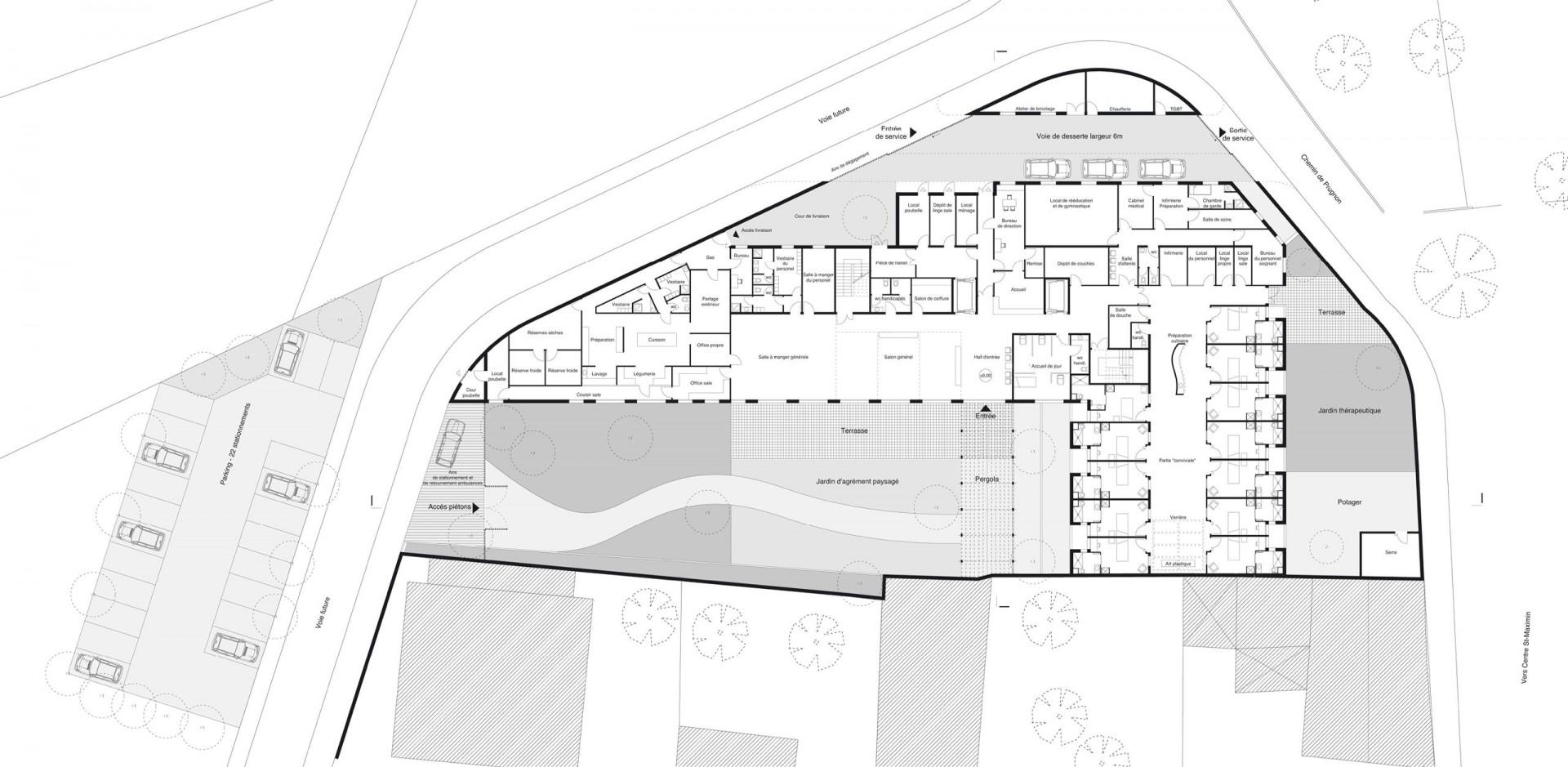 Maison de retraite phase concours phase esquisse equipe adrien champsaur architecture associé j l perez mandataire maitrise douvrage cg 83 var dev
